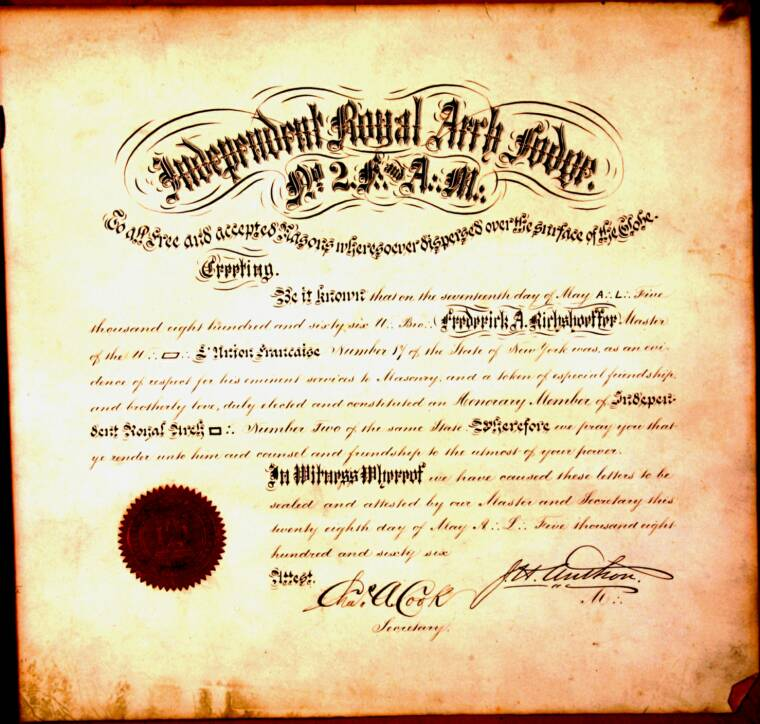1866 th Independent Royal Arch n°2, Document